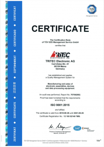 ISO 9001:2015 Certificate valid 2021-06-25