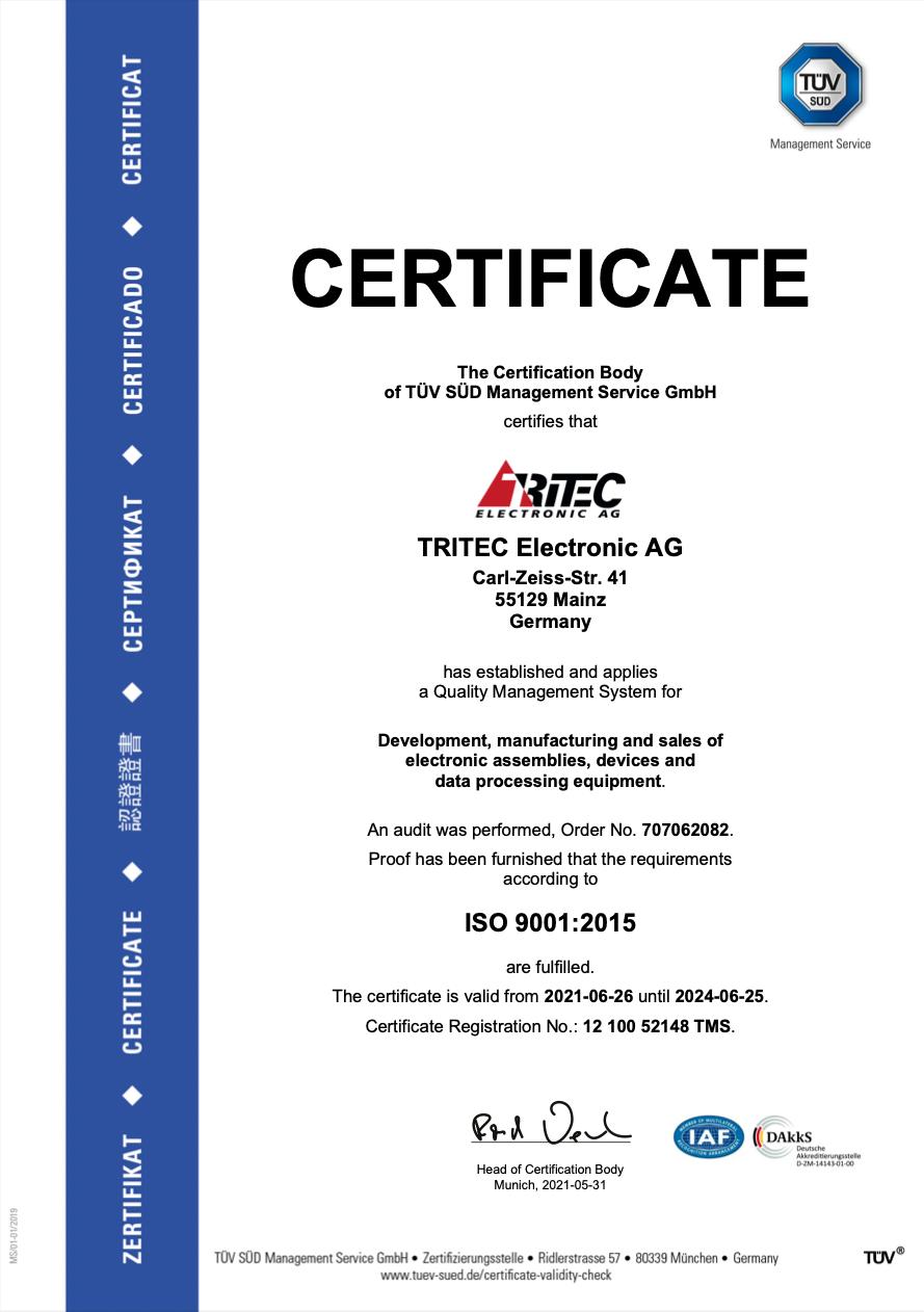 ISO 9001:2015 Certificate valid 2024-06-25